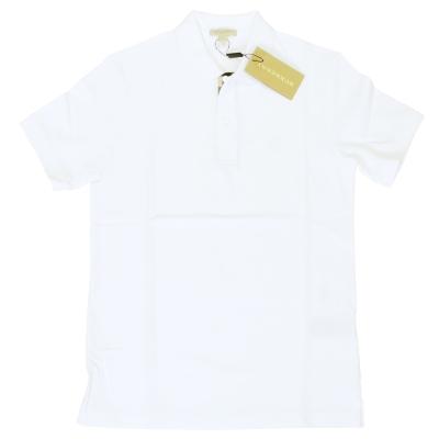 BURBERRY 格紋開襟珠地網眼棉質 POLO 衫 (白色)