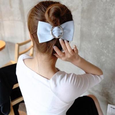梨花HaNA-韓國個性牛仔圈飾大蝴蝶結髮夾深