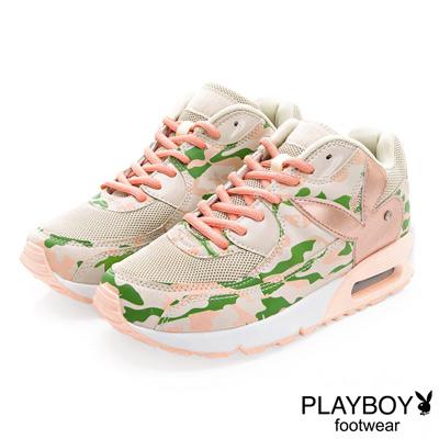 PLAYBOY-注目潮流-迷彩拼接氣墊運動鞋-粉彩
