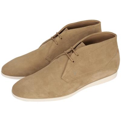 TOD'S 麂皮綁繩休閒短靴(男款/駝色)