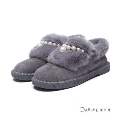 達芙妮DAPHNE-短靴-兔毛裝飾珍珠鏈麂皮低筒雪靴-灰8H