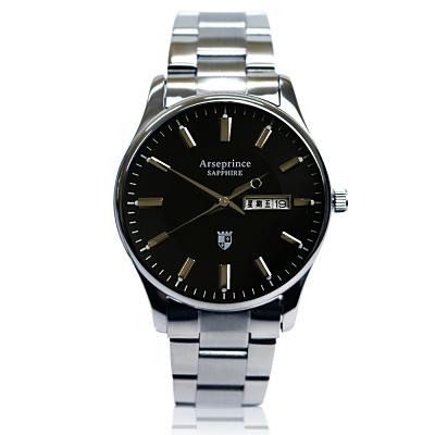 Arseprince 復刻回憶雙日顯示腕錶~黑色 38mm