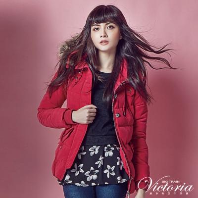 Victoria 花苞下擺中長版絲棉外套-女-桃紅