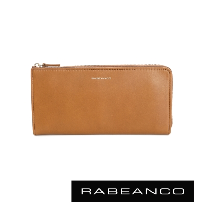 RABEANCO 迷時尚系列撞色多格層拉鍊長夾  奶油蘭姆酒棕