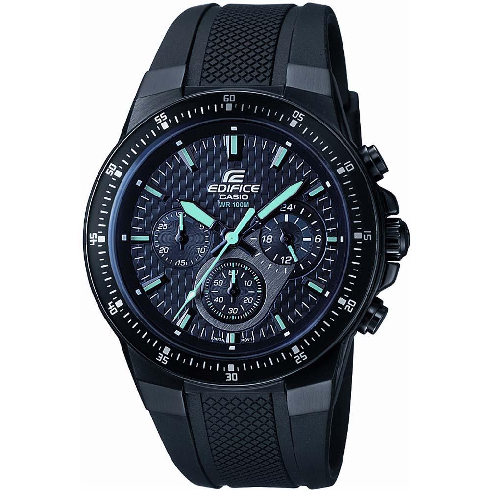 EDIFICE碳纖維壓胎痕賽車膠帶錶-黑x藍指針/43.8mm