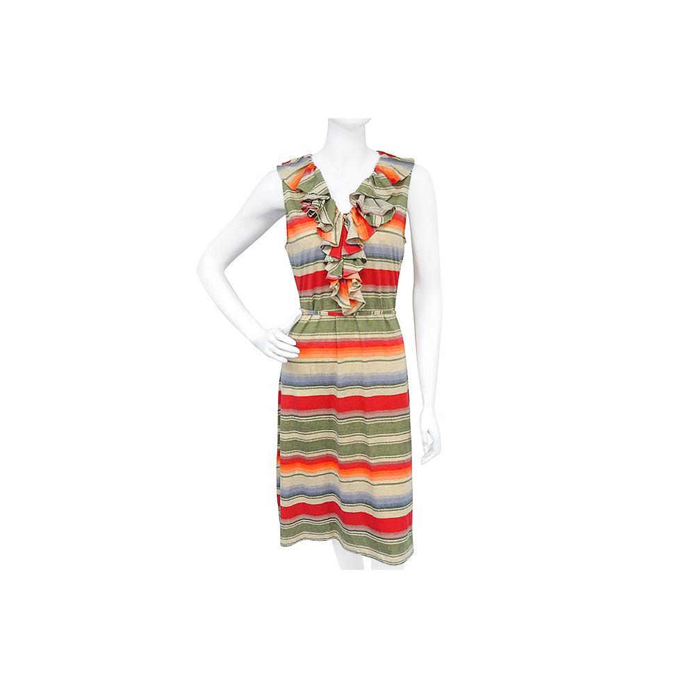 RALPH LAUREN 彩色條紋荷葉領純棉無袖洋裝【S號】