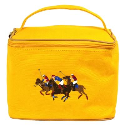 POLO 經典三馬騎士帆布手提化妝包(黃)