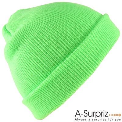 A-Surpriz 個性潮流螢光色系針織帽(螢光綠)