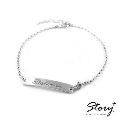 STORY ACCESSORY-訂製刻字-長牌純銀手鍊