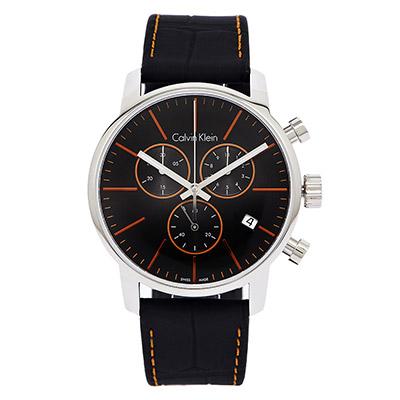 Calvin Klein CK City 黑x橘時尚皮革腕錶-黑/43mm