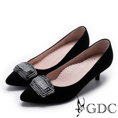 GDC-時尚質感方形鑽釦真皮低跟尖頭鞋-黑色