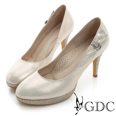 GDC幸福-側面水鑽蝴蝶結亮片真皮高跟鞋(婚鞋)-粉色