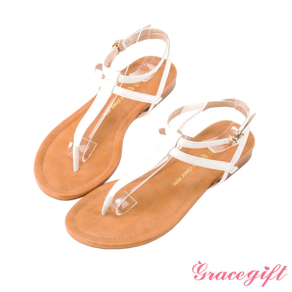 Grace gift 極簡魅力–雙層繫帶T字涼鞋 白