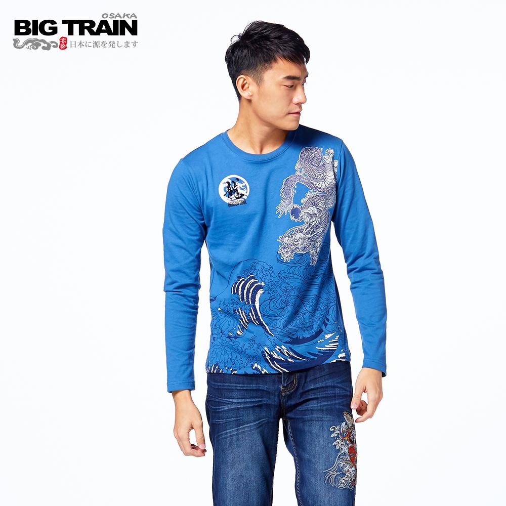 BIG TRAIN 怒海龍昇龍長袖圓領T-中藍