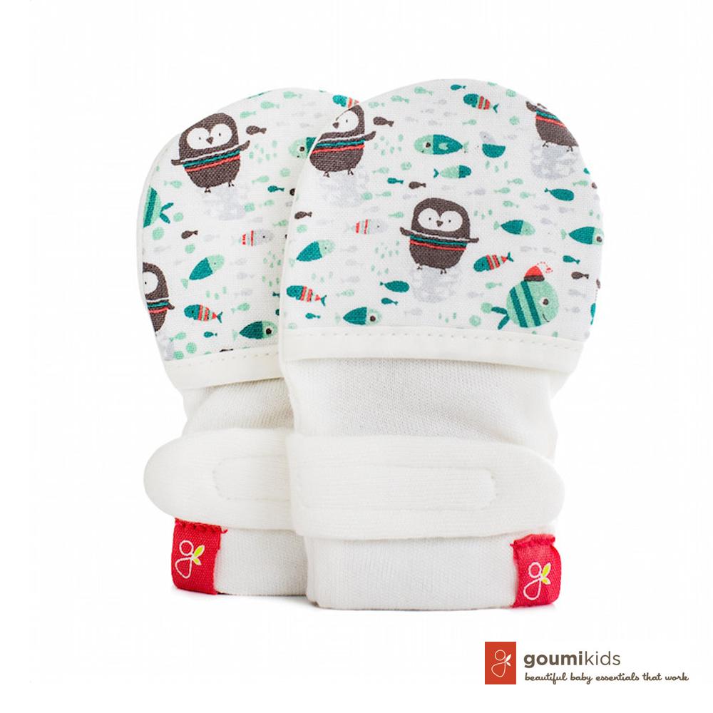 美國 GOUMIKIDS 有機棉嬰兒手套 (小企鵝-綠色)