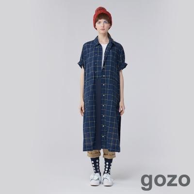 gozo 藝術家方格子刺繡長版襯衫