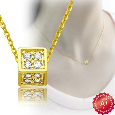 A+黃金 精緻滿鑽小方塊 千足黃金鎖骨墜