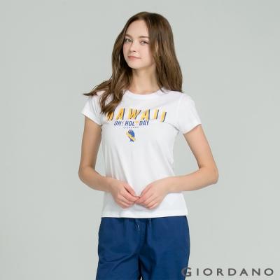 GIORDANO-女裝英文口號休閒印花TEE-56