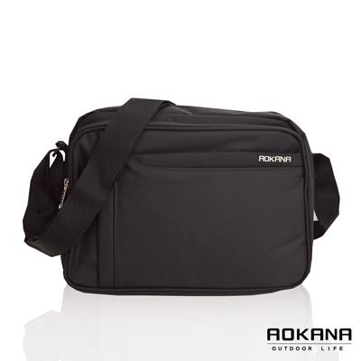 AOKANA奧卡納 台灣製造 YKK拉鍊 典雅輕量旅行商務A4側背包 (黑)02-002