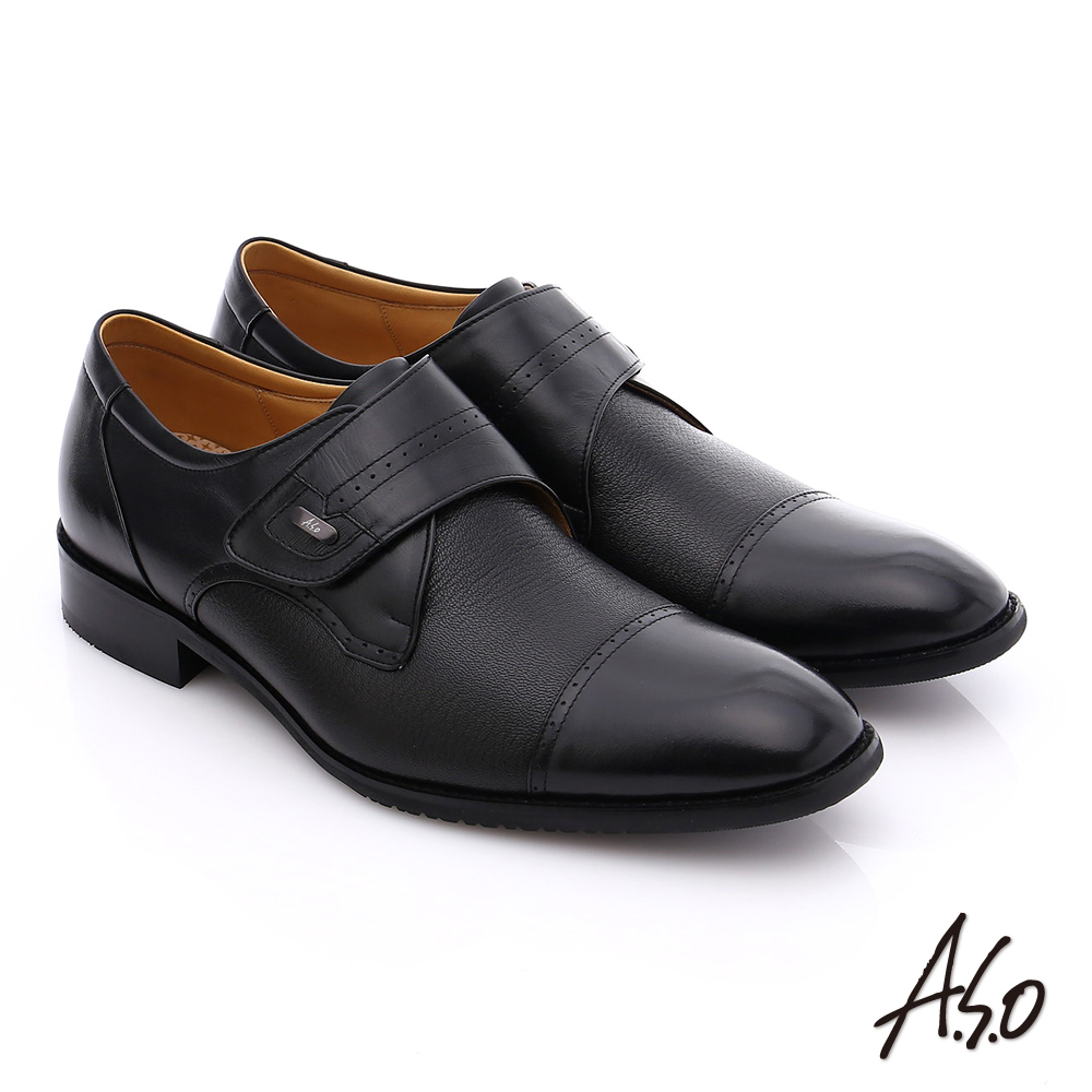 A.S.O 勁步雙核心 真皮拼接魔鬼氈奈米紳士鞋 黑色