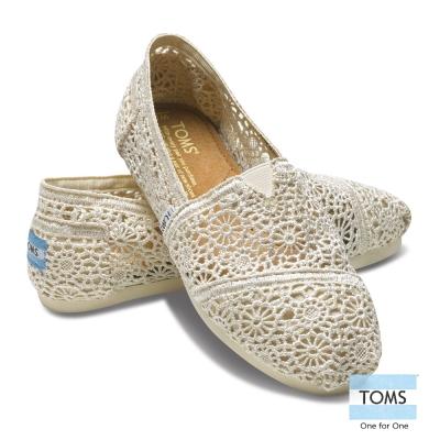 TOMS 經典蕾絲懶人鞋-女款(米白)