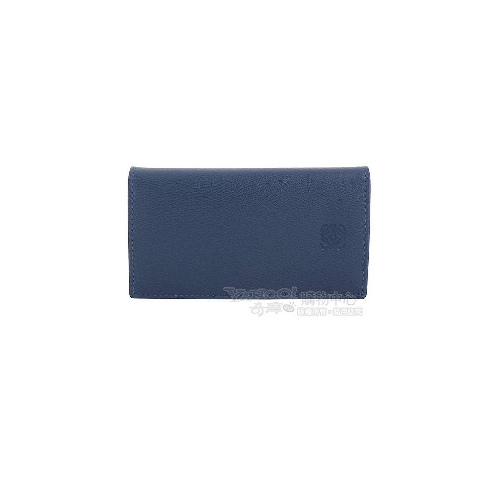 LOEWE 復古藍牛皮釦式鎖包