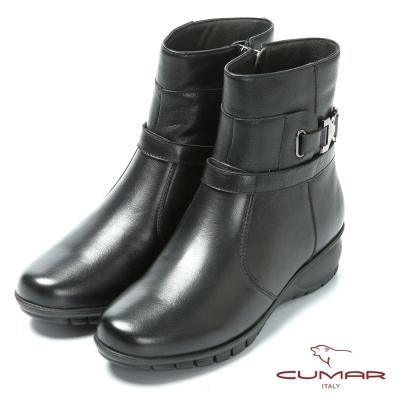 CUMAR嚴選真皮 舒適鞋底真皮短靴-黑色