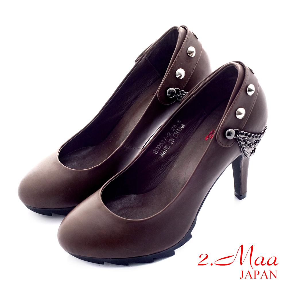 2.Maa 時尚流行‧超優雅貴婦級質感高跟鞋-高尚咖