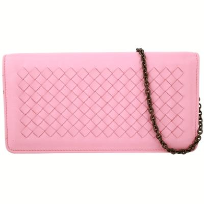 BOTTEGA VENETA 經典小羊皮編織釦式長夾/鍊帶晚宴包(粉色)