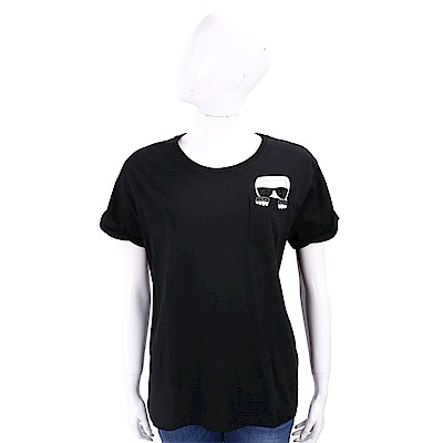 Karl Lagerfeld IKONIK 躲貓貓老佛爺黑色貼鑽棉質T恤