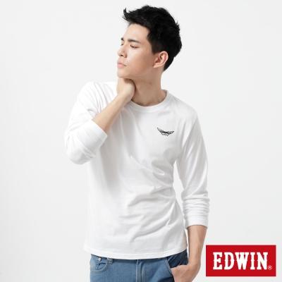 EDWIN-T恤-配色印花圓領T恤-男-白色