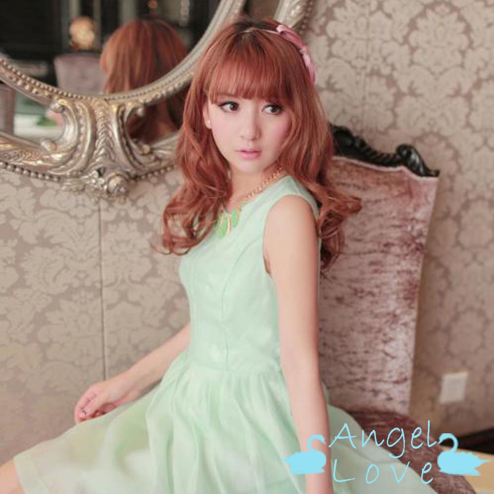 【Angel Love】歐美簡約風立體收腰洋裝 (淺綠色)