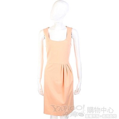 MOSCHINO 粉橘色抓褶設計無袖洋裝