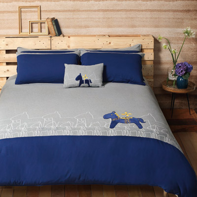 Yvonne Collection皇家馬加大三件式被套組-寶藍
