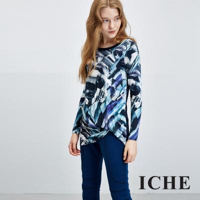 ICHE 衣哲 抽象印花拼接長版上衣
