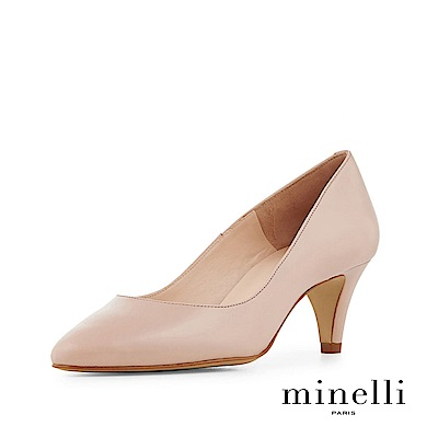 Minelli--巴西製造 全真皮經典優雅低跟鞋-優雅膚