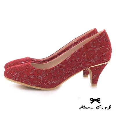 Mori girl細緻蕾絲後水鑽珍珠中低跟婚鞋 紅