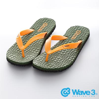 WAVE3【男】台灣製 瑜珈墊人字夾腳拖鞋~綠橘