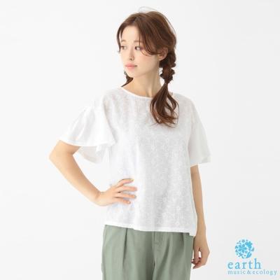 earth music&ecology 素色刺繡異素材拼接袖上衣