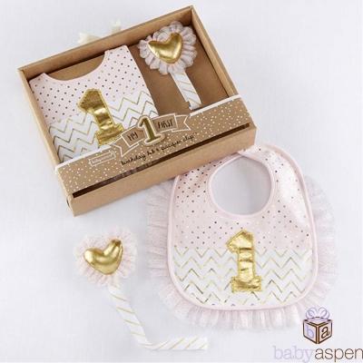 Baby Aspen BAS 粉金蕾絲圍兜+奶嘴鍊夾2件彌月禮盒組