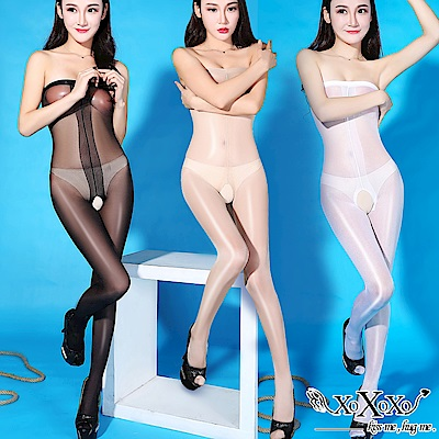 貓裝網衣 魅力誘惑油亮開襠連身絲襪 黑膚白3件組 XOXOXO