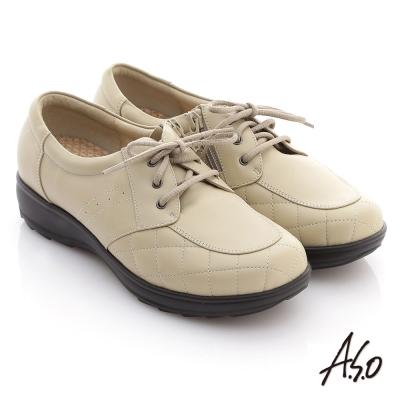 A.S.O 養身氣墊 全真皮格紋綁帶奈米氣墊鞋 米