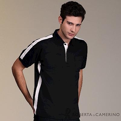 ROBERTA諾貝達 台灣製 簡潔線條 網眼短袖POLO棉衫 黑色