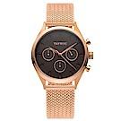 TAYROC 英式風尚米蘭帶計時手錶-咖啡X玫瑰金/36mm