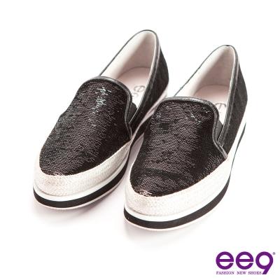 ee9率性風采~異材質拼接進口炫光珠片素面百搭超輕休閒便鞋*黑色
