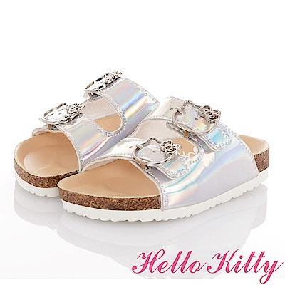 HelloKitty 俏麗閃亮輕便減壓吸震腳床型拖鞋童鞋-銀