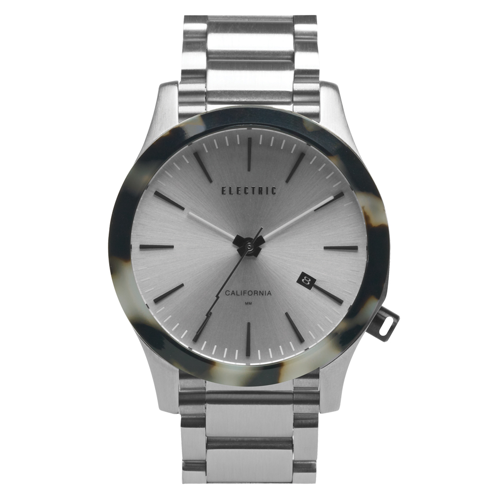 ELECTRIC FW03系列-優雅精品時尚腕錶-白玳瑁x銀鋼帶/40mm