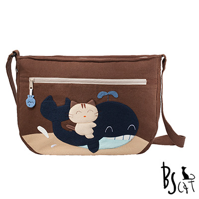 ABS貝斯貓 可愛貓咪拼布 肩背包 斜揹包 (咖) 88-214