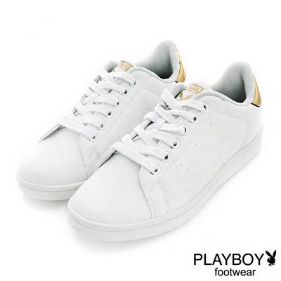 PLAYBOY簡約個性 後跟金屬色綁帶休閒鞋-白金(女)