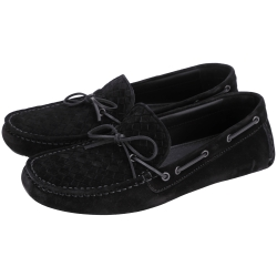 BOTTEGA VENETA 經典編織麂皮莫卡辛鞋(黑色/男)
